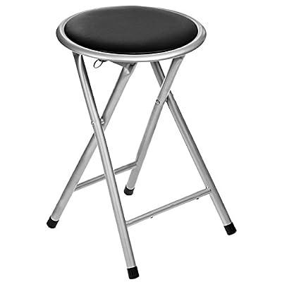 Oypla Black Padded Folding Breakfast Kitchen Bar Stool Seat - inexpensive UK light store.