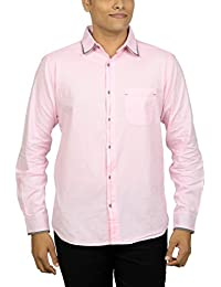 Kuons Avenue Men's Slim Fit Pink Champagne Self Weave Cotton Silk Traditional Casual Party Shirt