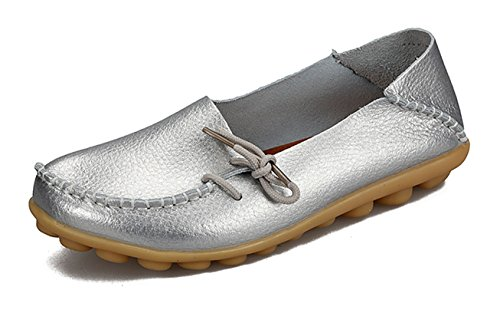 Auspicious beginning Ladies Comfy Work Leather Moccasins Loafers Flats Shoes Argent