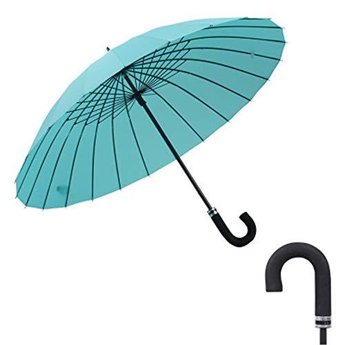 YuYa Sonnenschirm Kreative Gebogene Griffbewässerung Blumen und Sonnenschirme verstärkt Wind und Wasser blühenden Regen Golfschirm See blau 107cm
