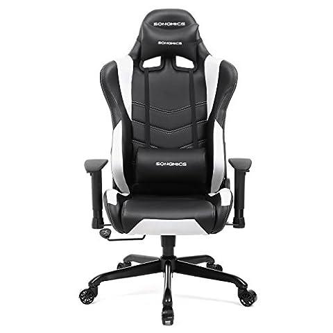 Songmics Gaming Stuhl Bürostuhl Schreibtischstuhl Chefsessel mit Armlehnen Rückstellschaum schwarz-weiß