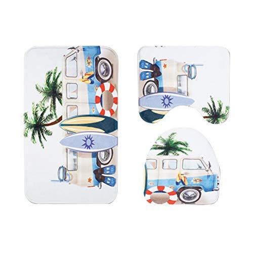 Drei Stück Bad-set (OUNONA DREI Stücke Grafiken Badematten Set Nonslip Bad Badewanne Teppich Carpet Contour WC-Sitz Deckel Cover (Palm Baum und Bus))
