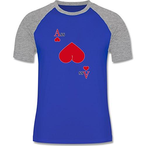 Shirtracer Statement Shirts - Herz Ass - Herren Baseball Shirt Royalblau/Grau meliert