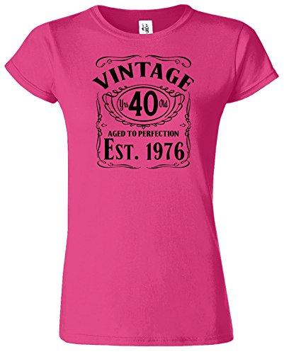VINTAGE EST 1976 40. Geburtstags-Geschenk mit Rundhalsausschnitt Damen-T-Shirt Saphir / Schwarz Design
