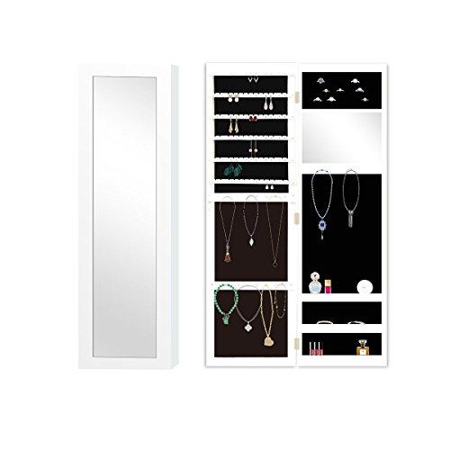 RULOTE Espejo Joyero Armoire RLT02 Con Elegante Diseño, Colgar en la Pared y Negro Terciopelo Insertar y Blanco Marco Exterior