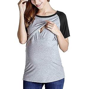 blusas y camisas para premamá: STRIR Camiseta de Lactancia Maternidad Lisos Camisa Mujer Blusa Breastfeeding Em...