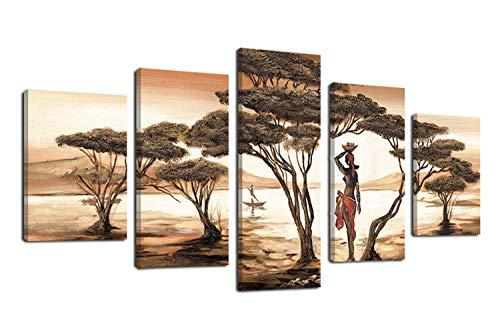 Fajerminart 5 Panneaux Tableau Moderne Cadre Deco - Landscape Africa Femmes Toile Peinture Arbre Wall Decorations pour Salon Cadre Toile,Toile Taille Cadre(30x50cmx2 30x70cmx2 30x90cm)(Cadre en Bois)