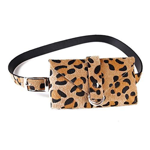 Riñonera de Piel con Estampado de Leopardo para Mujer, con Correa extraíble