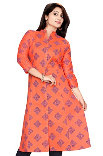 Meher Impex Women's Achkan Style Khadi Cotton Printed Long Kurti (Red_XXL)