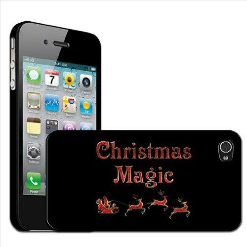 """Fancy A Snuggle Hartschale für iPhone4/4S zum Aufstecken, Motiv mit der Aufschrift """"Christmas Magic"""" mit Weihnachtsmann und Rentieren"""