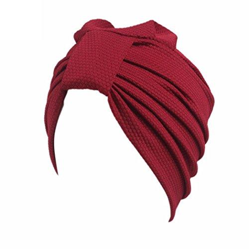 HKFV Vintage Style gefaltet Turban ideal für Kostüme Mode Chemo Hut Beanie Schal Turban Kopf Wrap Cap (Rot)