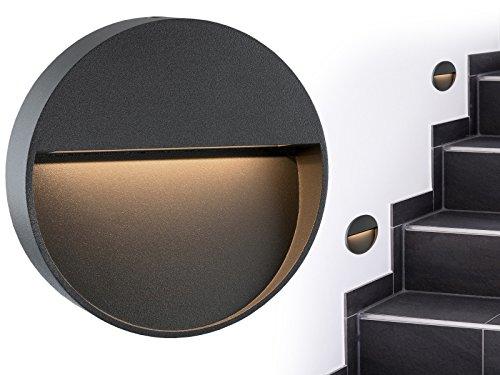 Fertige Wand Licht (Runde LED Wand-Leuchte & Treppen-Licht MORAVA für den Wandaufbau (Aufputz) IP54 innen & außen verwendbar mit 2W in warm-weiß)
