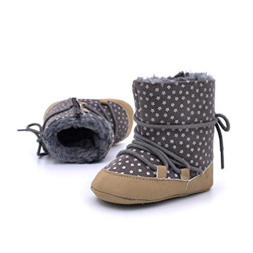 Chaussures de bébé,Transer ® Bébé nourrisson garder chaussures à Prewalker semelle souple Imprimé Star bottes chaudes Gris