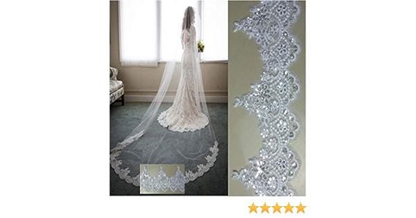 Romantico Velo da Sposa con Perle Perline Nuziale Velo di Pizzo Appliques Argento Thread 2 Livello di veli da Sposa romantici Wedding Accessories