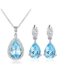 332d383b8 JiangXin Natural Sky Blue Topaz 925 Sterling Silver Jewellery Set for Women  Gemstone Pendant Necklace…