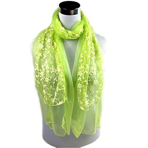 ❤️• •❤️ LUCKYCAT Fashion Lady bestickt Schal Lace schiere Burntout Floral Mantilla Schal wickeln (F) (Schiere Plaid)