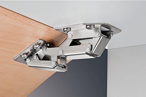 Preisvergleich Produktbild Gedotec Hochklapp-Scharnier Caravanscharnier Türscharnier Möbelscharnier für aufliegenden Anschlag / Stahl vernickelt / Klappengewicht bis 2, 1 kg / 4 Stück
