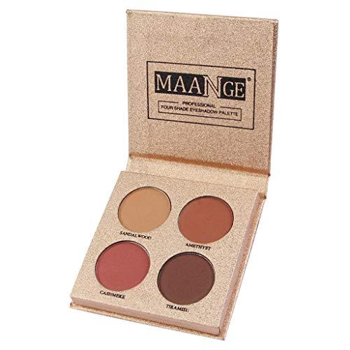 wyxhkj Ombre à paupières Maquillage cosmétique de fard à paupières mat de poudre de plaque ombre à paupières imperméable de 4 couleurs (G)