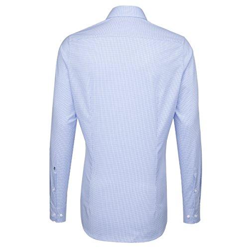SEIDENSTICKER Herren Hemd Slim 1/1-Arm, extra lang Bügelfrei Karo City-Hemd Kent-Kragen Kombimanschette weitenverstellbar blau (0013)