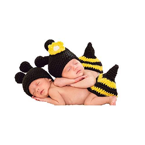 Fengbingl-cl Baby-Fotografie-Kleidung Unisex-Fotografie-Set Baby Fotografie Hut Kostüm Black Bee Zweiteiler Baby häkeln Kostüm Outfits Fotografie Requisiten (Baby Bee Kostüme)