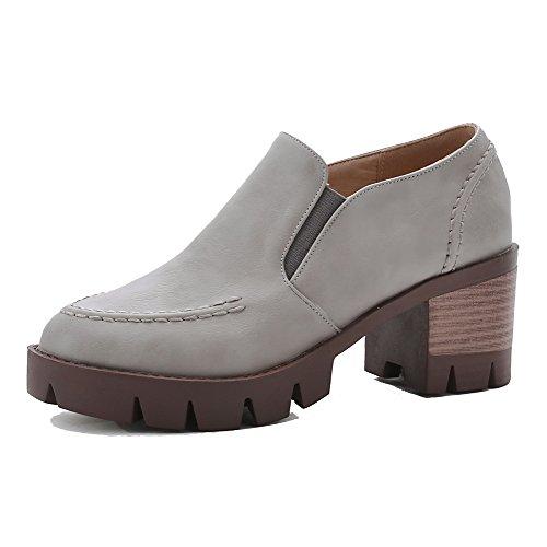 AgooLar Femme Tire à Talon Bas Pu Cuir Couleur Unie Rond Chaussures Légeres Gris