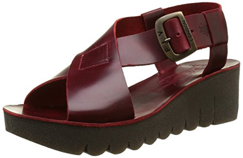 FLY London Yild880, Sandales Bout Ouvert Femme Rouge (Red 006)