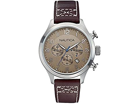 Nautica montre homme BFD 101 chronographe Classic Tan and Brown A14698G