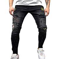 Pantalones Hombre Vaqueros Hombre Pitillo Rotos Derecha y Cremallera Slim Fit Moda para Hombre Pantalón Denim Pantalones Chandal Holatee