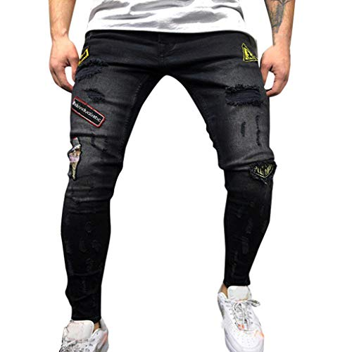 erbst Winter Hosen Mode Lässig Dünne Stretch Denimhosen Distressed Zerrissene Ausgefranst Slim Fit Jeans Hosen ()