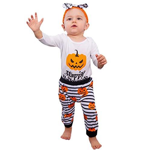 Kinderkleidung Set Rosennie Strampler Outfits Set Halloween Kostüme Säuglingsbaby Mädchen Spielanzug Buchstabe Ausstattungen Baby Jungen Mädchen Overall + Hosen+Stirnbänder Für Party (Weiß)