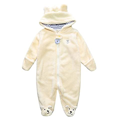 LCLrute New Mode Lovely Herbst Winter Neugeborene Baby Kleidung Säugling Junge Mädchen Bär Hoodie Overall Spielanzug Kleidung (3M, Gelb)