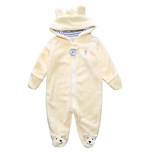 Moginp Overall,Strampler Herbst Winter Neugeborenes Baby Jumpsuit Infant Boy Mädchen Bär Hoodie Spielanzug Kleidung (9M, Gelb)
