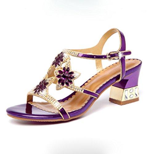 FENGT Sommer Schuhe Strass Europa Und Die Vereinigten Staaten Mit High Heel Sandaletten,Purple,33