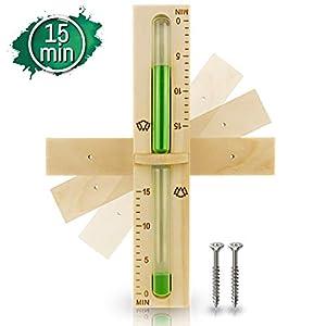 15 Minuten Sauna Sanduhr aus 100% nordischer Fichte - Glas robust & hitzebeständig - Kontrastfarbe Grün + 2 Edelstahl Schrauben - Hochwertiges Sauna Zubehör - 60 Tage risikolos testen - Saunauhr