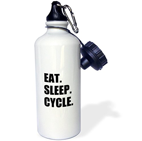 """3dRose wb_180393_1 """"Eat Sleep Cycle-passionate about cycling-bicycle enthusiast gifts"""" Sports Water Bottle, 21 oz, White"""