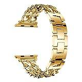Trendyest Banda de Reloj Correa de Reloj Pulsera de Enlace de Banda de Reemplazo para Apple Watch 38 Mm (Oro)