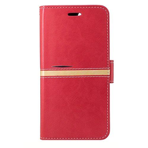 YAN Für iPhone 7 Plus Textur PU Leder Horizontale Flip Leder Tasche mit Halter & Card Slots & Wallet & Photo Frame & Lanyard ( Color : Gold ) Red