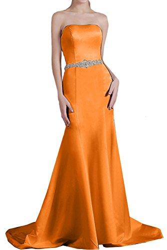 Ivydressing Damen einfach Schleppe Meerjungfrau Traegerlos aermellos Satin Guertel Strass Perlen Ruekenfrei Brautfernkleid Abendkleid Partykleid Orange