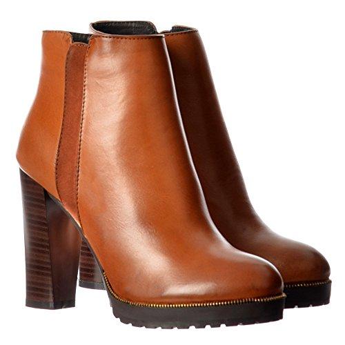 L'oro Delle Donne Onlineshoe Borchie Metà Blocco Tallone Ankle Boot - Nero, Tan, Borgogna Tan