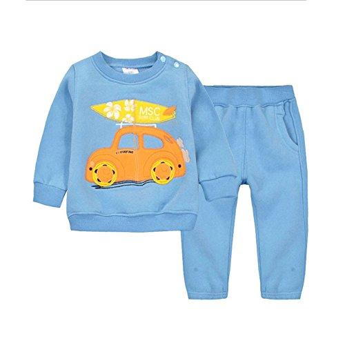 CuteOn Kinder Children's Winter Trainingsanzug Pullover Sweatshirt Beiläufig Top + Hosen für Toddler Jungen Mädchen Blau Auto 3 Jahre -