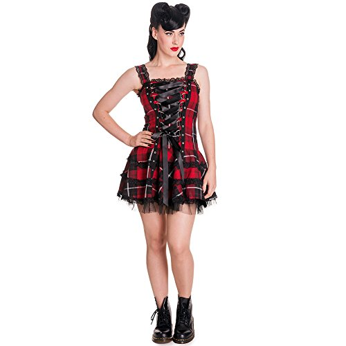 Hell Bunny Tartan Punk Mini Dress - Sizes 8 to 16 - Ideal for an instant punk costume.