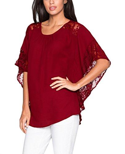 Damen Chiffon-Bluse Spitzenbluse Young Fashion Elegant Spitze Stitching  Tops Oberteil T-Shirts Hemd