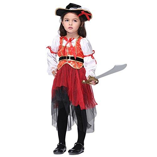 Halloween Piraten Kostüm Kinder Mädchen Kleid mit Kopftuch schwarz rot
