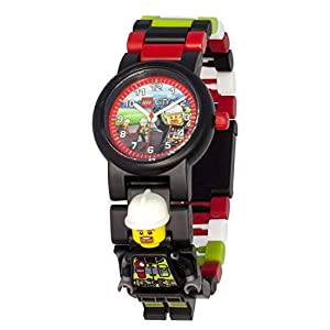 Armbanduhr Lego City – Firefighter, inklusive 12 zusätzlichen Armbandgliedern, Lego Minifigur im Armband integriert, analoges Ziffernblatt, kratzfestes Acrylglas