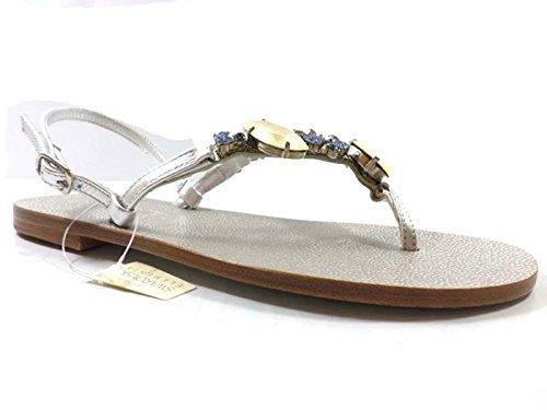 Eddy daniele 37 eu sandali donna gioielli argento pelle/cristalli swarovski ax872