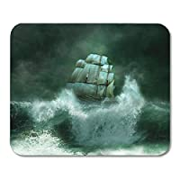 "HOTNING Gaming Mouse Pad Storm Old Ship Sailing in The Marine Thunderstorm Boat Ocean 11.8""x 9.8"" Decor Office Nonslip Rubber Backing Mousepad Mouse Mat"