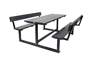Picknicktisch Design anthrazit 180 cm, mit Rückenlehne, Kiefernholz mit Stahlgestell
