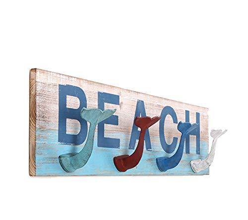 YYH Meerjungfrau Schwanz Form Haken Holz Kontrast Farbe Regal Schlafzimmer Wohnzimmer Veranda Hintergrund Wand Dekoration Rahmen Retro Mode Garderobe 76 × 20 cm