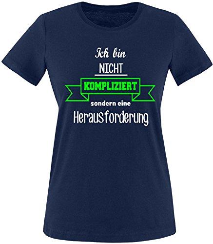 EZYshirt Ich bin nicht Kompliziert sondern eine Herausforderung Damen Rundhals T-Shirt Navy/Weiss/Neongruen
