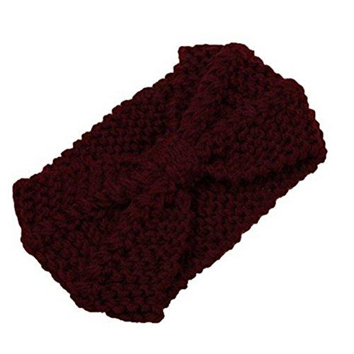 TININNA Inverno uncinetto Bow lavorato a maglia Scaldino orecchio del Cerchietto Fascia per capelli Copricapo Turbante Profondo Rosso